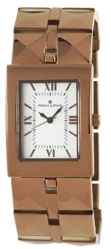 Herzog Soehne Armbanduhr weiss braun 28x37 mm