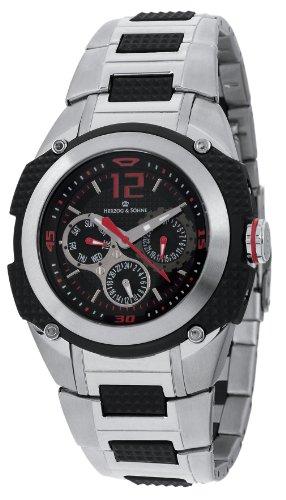 Herzog Soehne Armbanduhr schwarz silber 46 mm