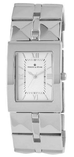 Herzog Soehne Armbanduhr weiss silber 28x37 mm