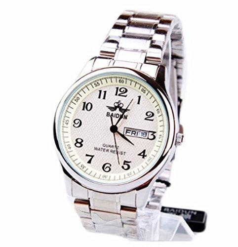 Baidun Herren Jungen Fashion einfache und elegante Uhr Rundstahl wasserdichte Armbanduhren
