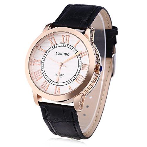 Leopard Shop Longbo 8863 einem Herren Lederband roemischen Ziffern Display transparent backcover Armbanduhr 30 m Wasser Widerstand 2