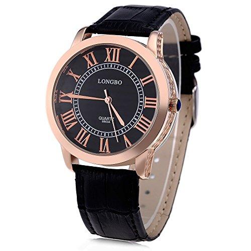 Leopard Shop Longbo 8863 einem Herren Lederband roemischen Ziffern Display transparent backcover Armbanduhr 30 m Wasser Widerstand 1