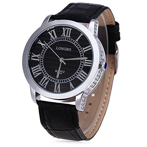 Leopard Shop Longbo 8863 einem Herren Lederband roemischen Ziffern Display transparent backcover Armbanduhr 30 m Wasser Widerstand 4