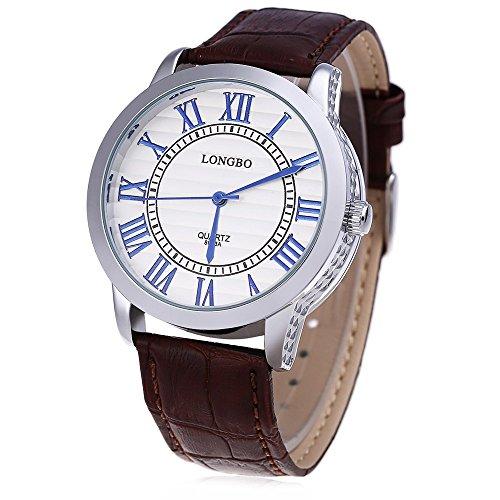 Leopard Shop Longbo 8863 einem Herren Lederband roemischen Ziffern Display transparent backcover Armbanduhr 30 m Wasser Widerstand 3