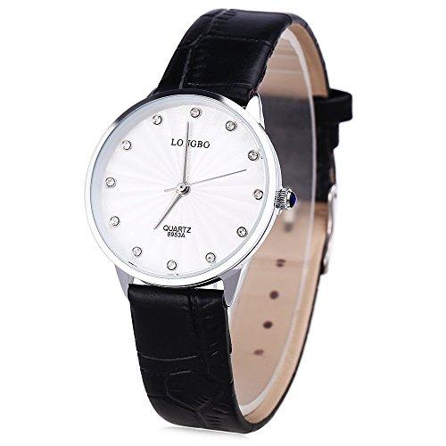 Leopard Shop Longbo 8953 einem Frauen Kuenstliche Diamant Display Zifferblatt Lederband Armbanduhr 30 m Wasser Widerstand 2