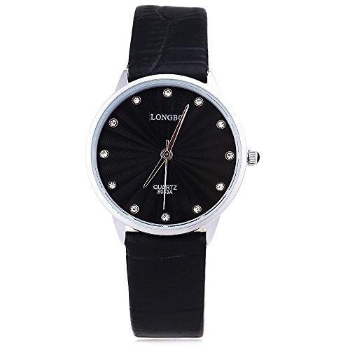 Leopard Shop Longbo 8953 einem Frauen Kuenstliche Diamant Display Zifferblatt Lederband Armbanduhr 30 m Wasser Widerstand 3