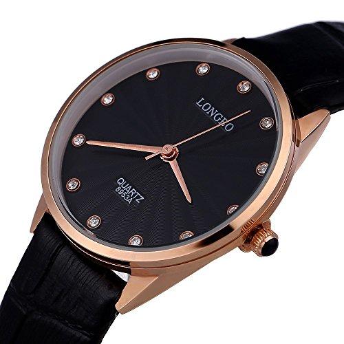 Leopard Shop Longbo 8953 einem Frauen Kuenstliche Diamant Display Zifferblatt Lederband Armbanduhr 30 m Wasser Widerstand 1