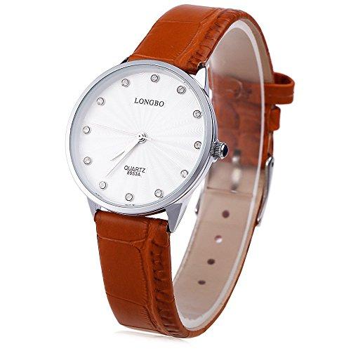 Leopard Shop Longbo 8953 einem Frauen Kuenstliche Diamant Display Zifferblatt Lederband Armbanduhr 30 m Wasser Widerstand 4