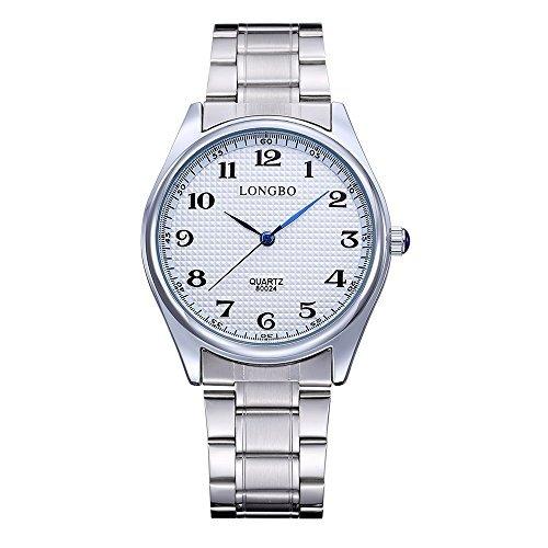 Longbo Weisses Zifferblatt Klassisch einfaches Ablesen der Uhrzeit Edelstahl Quarz Uhr