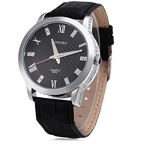 Leopard Shop Longbo 8863 G Stecker Quarzuhr Luminous Pointer roemischen Ziffern Display Armbanduhr Wasser Widerstand 1