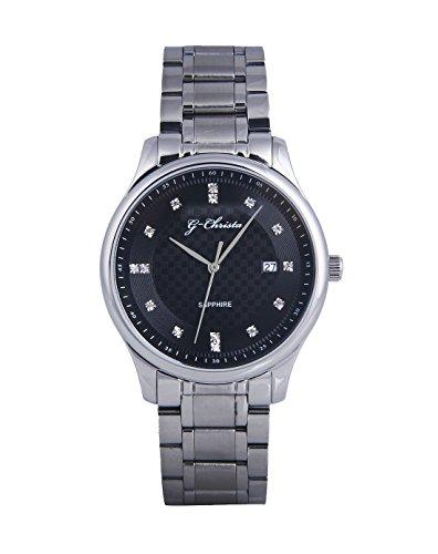 G CHRISTA KSG 609onyx Armbanduhr Unisex Onyx schwarz Edelstahl Watch Damen Herren