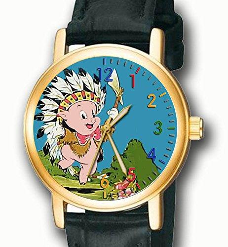 Rare Porky Pig Indian Chief Vintage Farben 30 mm Sammelfiguren Unisex Armbanduhr