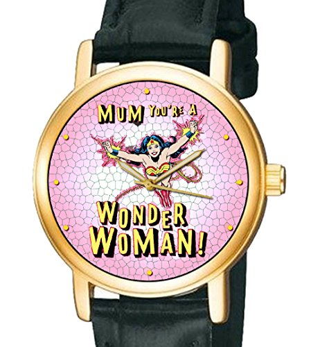 Mum You re A Wonder Woman Vintage oirignal Art Supermom Collectible Armbanduhr Minze