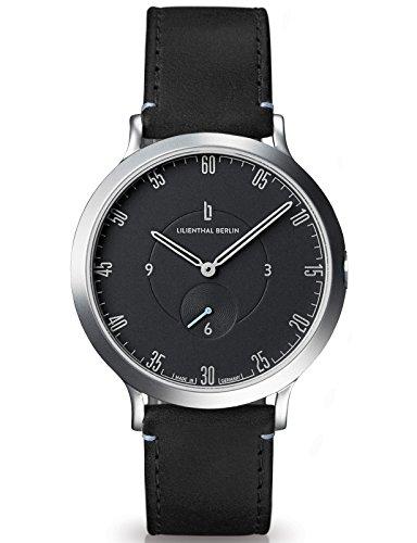 Lilienthal Berlin Made in Germany Die neue Uhr aus Berlin Modell L1 Edelstahl Gehaeuse schwarzes Zifferblatt schwarzes Armband