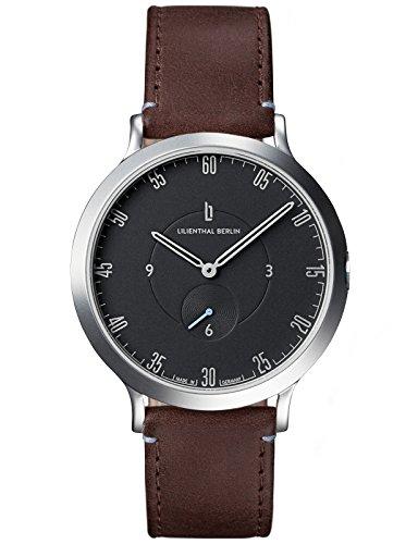 Lilienthal Berlin Made in Germany Die neue Uhr aus Berlin Modell L1 Edelstahl Gehaeuse schwarzes Zifferblatt