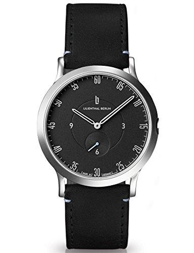 Lilienthal Berlin Made in Germany Die neue Uhr aus Berlin Modell L1 klein Edelstahl Gehaeuse schwarzes Zifferblatt schwarzes Armband