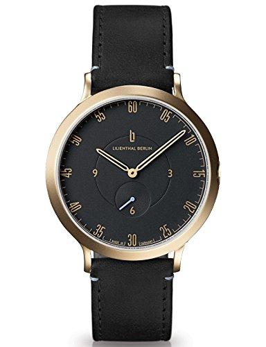 Lilienthal Berlin Made in Germany Die neue Uhr aus Berlin Modell L1 Edelstahl Gehaeuse vergoldet schwarzes Zifferblatt schwarzes Armband