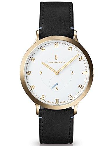 Lilienthal Berlin Made in Germany Die neue Uhr aus Berlin Modell L1 Edelstahl Gehaeuse vergoldet weisses Zifferblatt schwarzes Armband