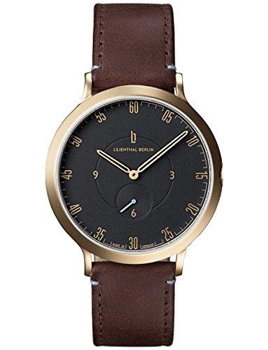 Lilienthal Berlin Made in Germany Die neue Uhr aus Berlin Modell L1 Edelstahl Gehaeuse vergoldet schwarzes Zifferblatt