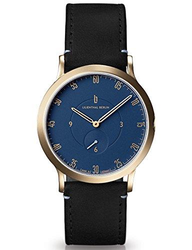 Lilienthal Berlin Made in Germany Die neue Uhr aus Berlin Modell L1 klein Edelstahl Gehaeuse vergoldet blaues Zifferblatt schwarzes Armband