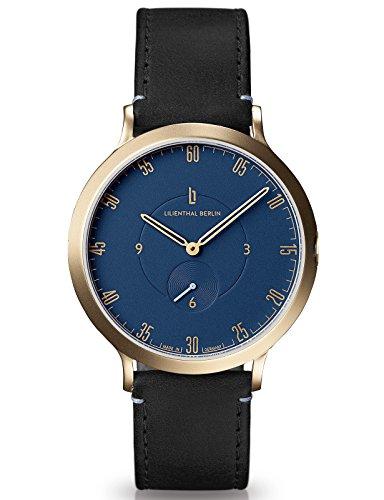 Lilienthal Berlin Made in Germany Die neue Uhr aus Berlin Modell L1 Edelstahl Gehaeuse vergoldet blaues Zifferblatt schwarzes Armband