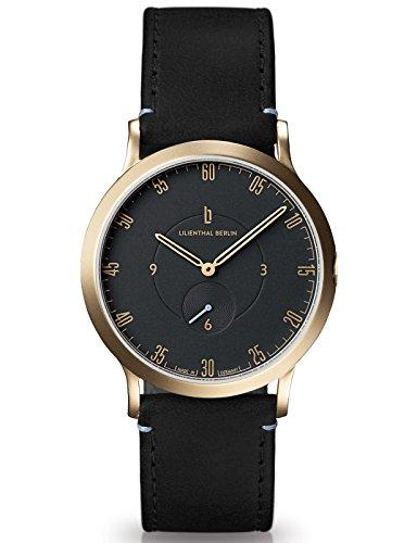 Lilienthal Berlin Made in Germany Die neue Uhr aus Berlin Modell L1 klein Edelstahl Gehaeuse vergoldet schwarzes Zifferblatt schwarzes Armband