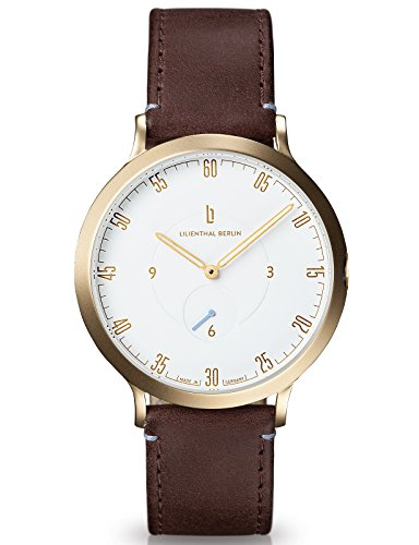 Lilienthal Berlin Made in Germany Die neue Uhr aus Berlin Modell L1 Edelstahl Gehaeuse vergoldet weisses Zifferblatt