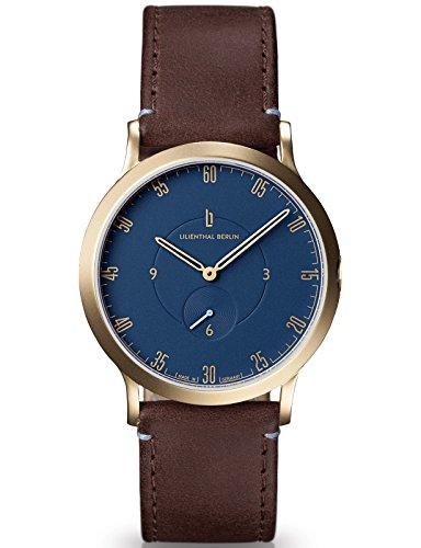 Lilienthal Berlin Made in Germany Die neue Uhr aus Berlin Modell L1 klein Edelstahl Gehaeuse vergoldet blaues Zifferblatt dunkelbraunes Armband