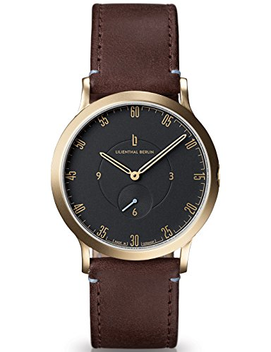 Lilienthal Berlin Made in Germany Die neue Uhr aus Berlin Modell L1 klein Edelstahl Gehaeuse vergoldet schwarzes Zifferblatt dunkelbraunes Armband