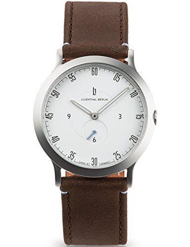 Lilienthal Berlin Made in Germany Die neue Uhr aus Berlin Modell L1 klein Edelstahl Gehaeuse weisses Zifferblatt dunkelbraunes Armband
