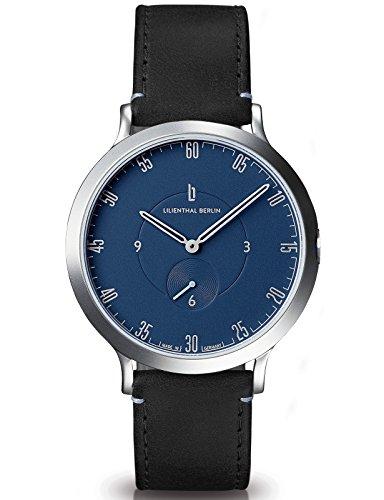 Lilienthal Berlin Made in Germany Die neue Uhr aus Berlin Modell L1 Edelstahl Gehaeuse blaues Zifferblatt schwarzes Armband