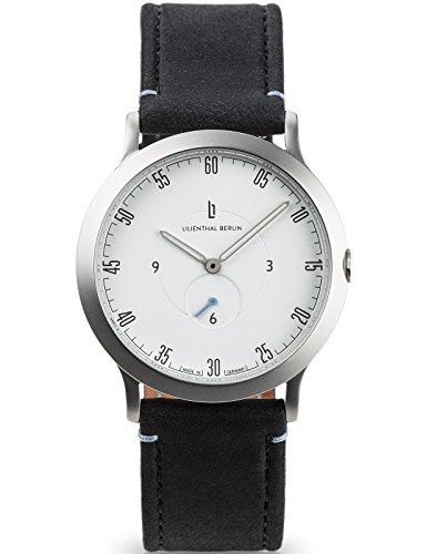 Lilienthal Berlin Made in Germany Die neue Uhr aus Berlin Modell L1 klein Edelstahl Gehaeuse weisses Zifferblatt schwarzes Armband