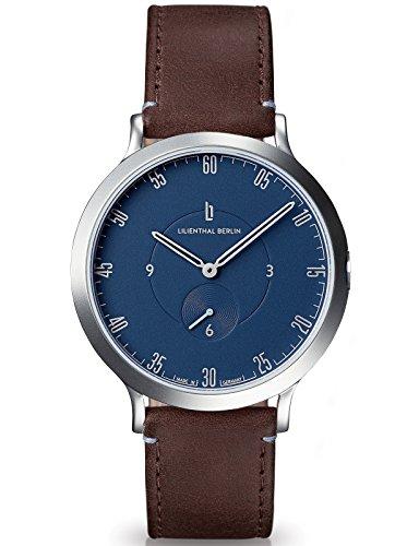 Lilienthal Berlin Made in Germany Die neue Uhr aus Berlin Modell L1 Edelstahl Gehaeuse blaues Zifferblatt