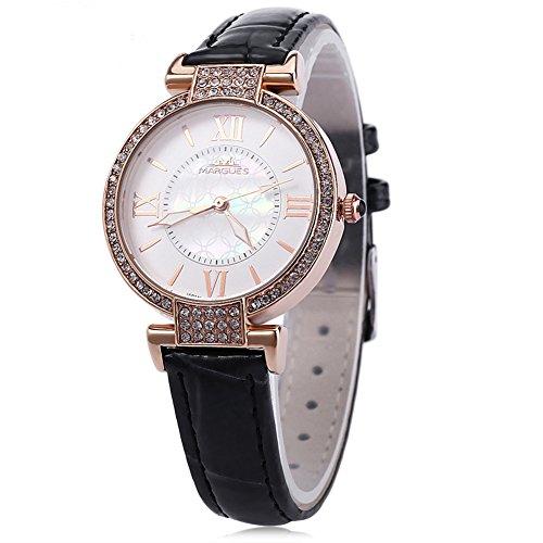 Leopard Shop margues M 3018 Damen Fashion Quarzuhr Luminous Pointer Kuenstliche Strass Zifferblatt roemischen Ziffern Skala Armbanduhr Schwarz