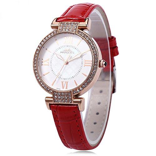Leopard Shop margues M 3018 Damen Fashion Quarzuhr Luminous Pointer Kuenstliche Strass Zifferblatt roemischen Ziffern Skala Armbanduhr Rot
