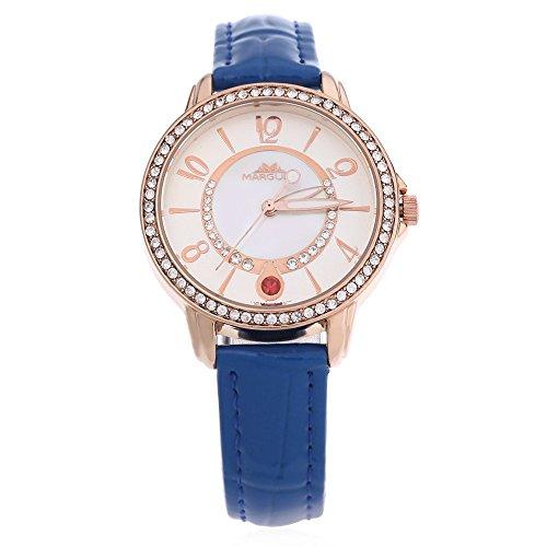 Leopard Shop margues M 3025 Stilvolle Frauen Schlank Leder Armband Strass Zifferblatt 30 m Wasser Widerstand Armbanduhr Blau