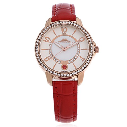 Leopard Shop margues M 3025 Stilvolle Frauen Quarz Armbanduhr Schlank Leder Armband Strass Zifferblatt 30 m Wasser Widerstand Armbanduhr Rot