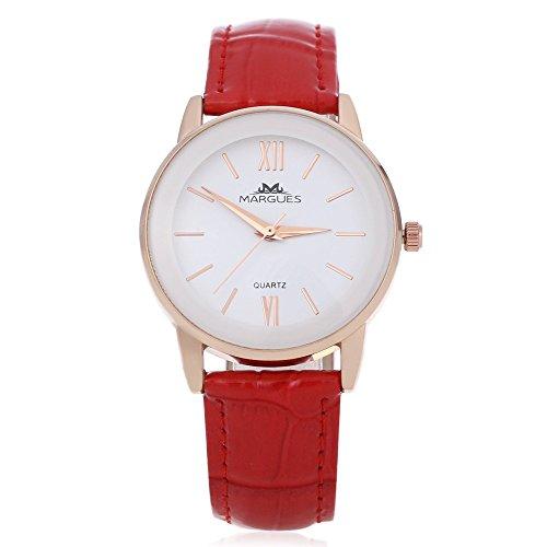 Leopard Shop margues M 3027 Stilvolle Frauen Schlank Leder Armband Watch Quarz Ultra Slim Zifferblatt 30 m Wasser Widerstand Armbanduhr Rot