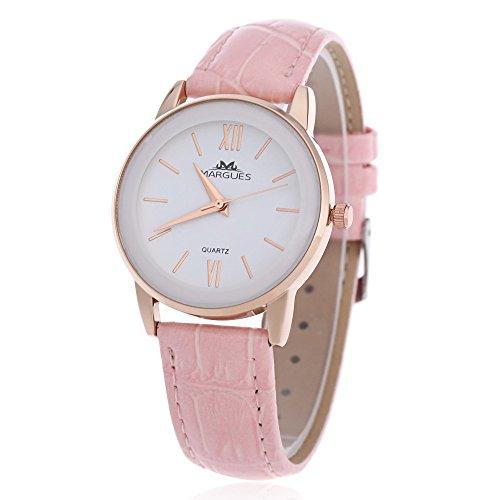 Leopard Shop margues M 3027 Stilvolle Frauen Schlank Leder Armband Watch Quarz Ultra Slim Zifferblatt 30 m Wasser Widerstand Armbanduhr Pink