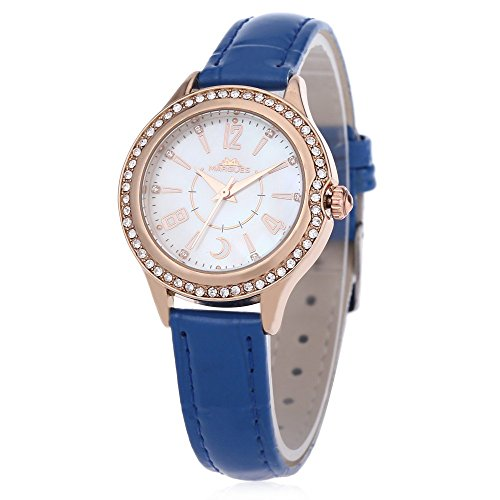Leopard Shop margues M 3029 Stilvolle Frauen Quarzuhr Shell Strass Zifferblatt 30 m Wasser Widerstand Armbanduhr Blau