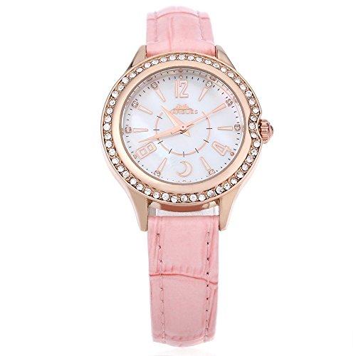 Leopard Shop margues M 3029 Stilvolle Frauen Quarzuhr Shell Strass Zifferblatt 30 m Wasser Widerstand Armbanduhr Pink