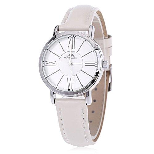 Leopard Shop margues M 3031 Stilvolle Frauen Schlank Leder Armband Watch Quarz Ultra Slim Zifferblatt Armbanduhr 30 m Wasser Widerstand weiss
