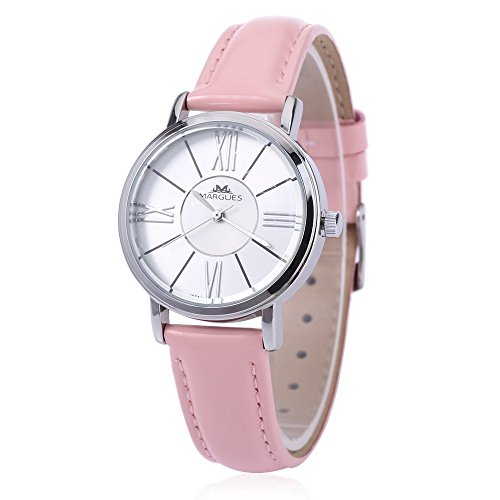 Leopard Shop margues M 3031 Stilvolle Frauen Schlank Leder Armband Watch Quarz Ultra Slim Zifferblatt Armbanduhr 30 m Wasser Widerstand Pink
