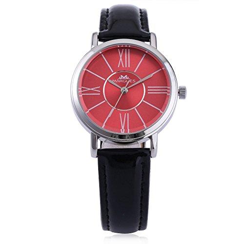 Leopard Shop margues M 3031 Stilvolle Frauen Schlank Leder Armband Watch Damenuhr Quarz Ultra Slim Zifferblatt Armbanduhr 30 m Wasser Widerstand schwarz