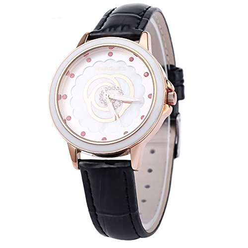 Leopard Shop margues M 3047 Frauen Quarzuhr wristwatchflower Muster Luminous Zeiger Zifferblatt Kuenstliche Diamant Skala Fashion Schwarz