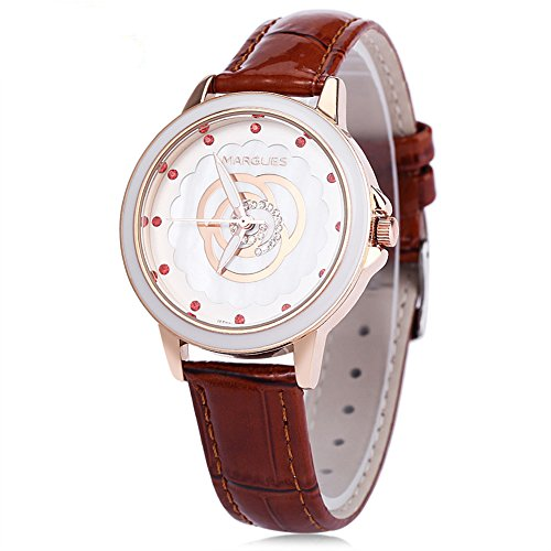 Leopard Shop margues M 3047 Frauen Quarzuhr wristwatchflower Muster Luminous Zeiger Zifferblatt Kuenstliche Diamant Skala Fashion Kaffee