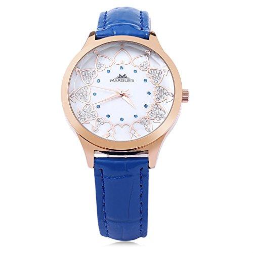 Leopard Shop margues M 3049 Frauen Quarz Armbanduhr Herz Muster Massstab Wasser Widerstand Kuenstliche Diamant Zifferblatt Fashion Armbanduhr Blau