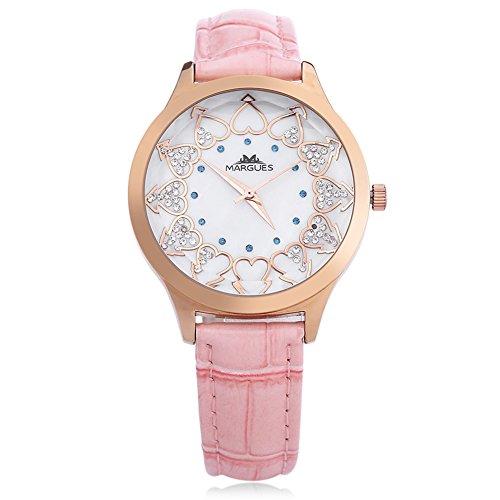 Leopard Shop margues M 3049 Frauen Herz Muster Massstab Wasser Widerstand Kuenstliche Diamant Zifferblatt Fashion Armbanduhr Rosa