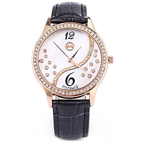 Leopard Shop margues M3016 Frauen Quarzuhr Kuenstliche Diamant Zifferblatt Wasser Widerstand Armbanduhr Schwarz