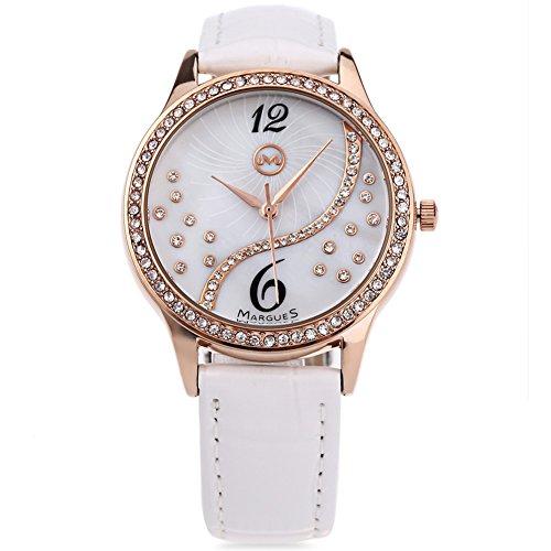 Leopard Shop margues M3016 Frauen Quarzuhr Kuenstliche Diamant Zifferblatt Wasser Widerstand Armbanduhr Weiss